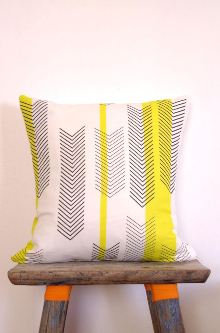 Cushion Cover Arrow Chevron Black  White Print with Yellow Stripes | Neon Vintage Design