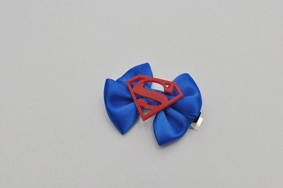 Superman hair bow aligator clip by geeklingdesigns on Etsy, $5.00