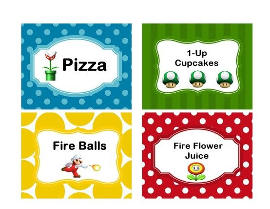 Free Printable Mario Food Labels