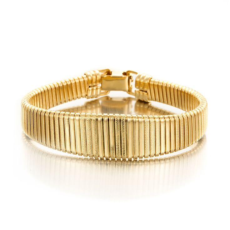 18ct Yellow Gold Layered Omega (Super Flex) Wide Bracelet | Allure Gold