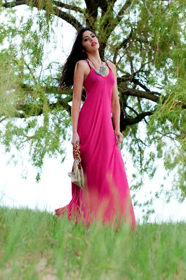 Anthropologie Pink Maxi Dress, Anthropologie Turquoise And Gem Droplet Necklace, Betsey Johnson Bag