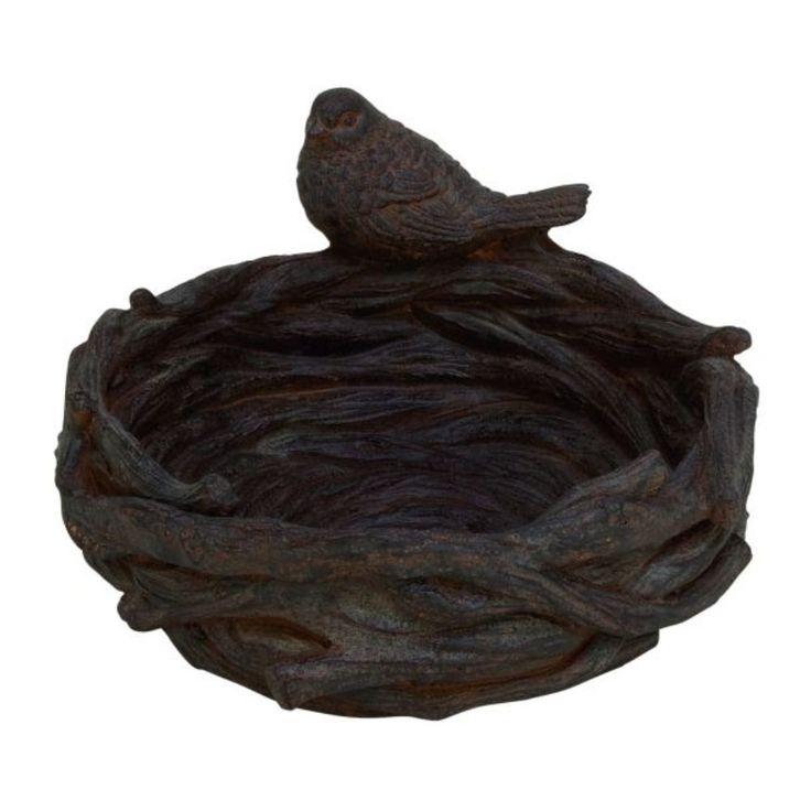 Benzara Bird Standing on Nest Brown Polystone 15-inch Wide x 8-inch High Figurine (Dark Brown), Outdoor Décor