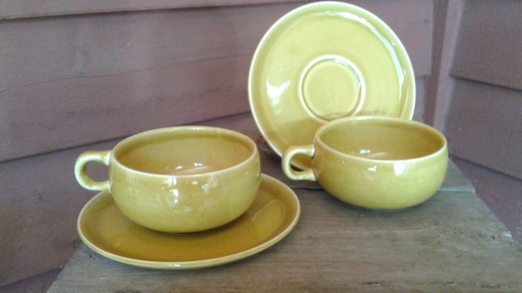 Russel Wright for Steubenville American Modern Teacup and Saucer, Chartreuse, Set of 2 by ClementineandIvy on Etsy