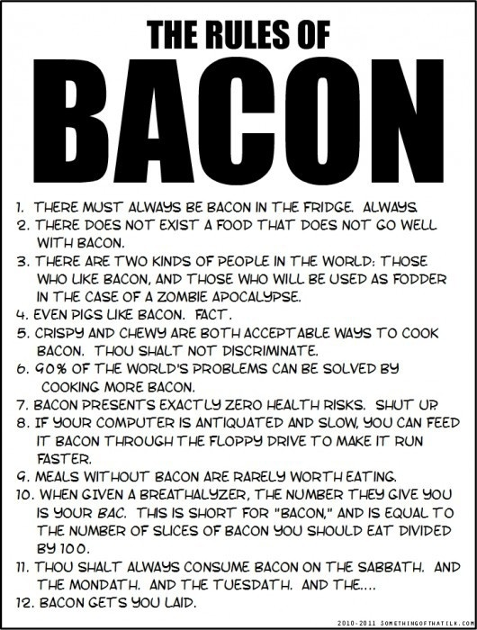 bacon bacon bacon bacon bacon bacon bacon bacon baconLaugh, Food, Bacon Bacon, Bacon Rules, Funny Stuff, Things, Funnystuff, The Rules, True Stories