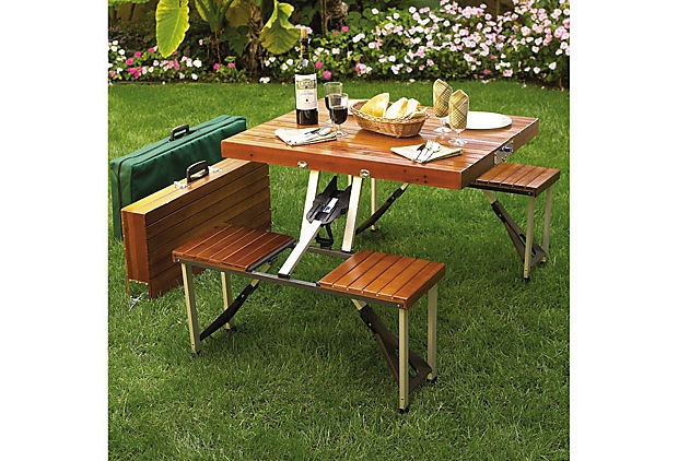 Portable Picnic Table Set: Tables Sets, Company Picnics, Gifts Ideas, Summer Picnics, Picnic Tables, Outdoor, Portable Picnics, Wooden Picnics, Folding Picnics Tables