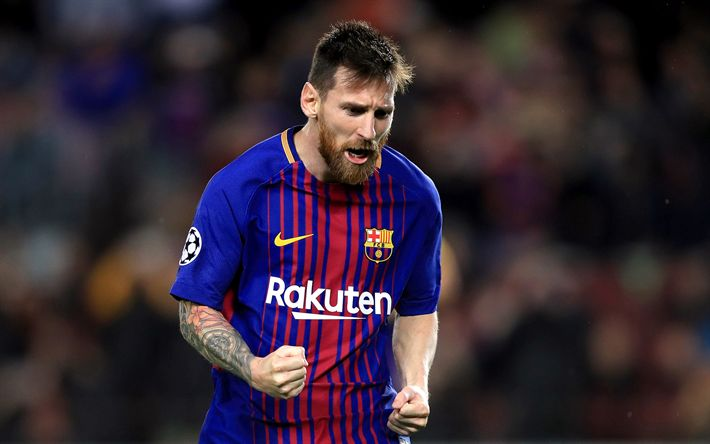 Download wallpapers Leo Messi, joy, 4k, FCB, football stars, Barca, Messi, FC Barcelona, footballers, soccer