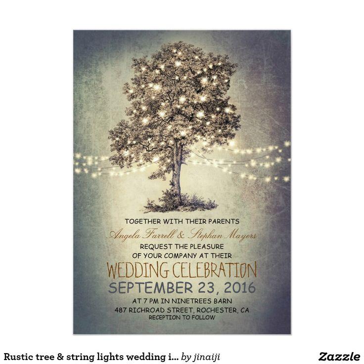 Rustic Tree String Lights Wedding Invitations