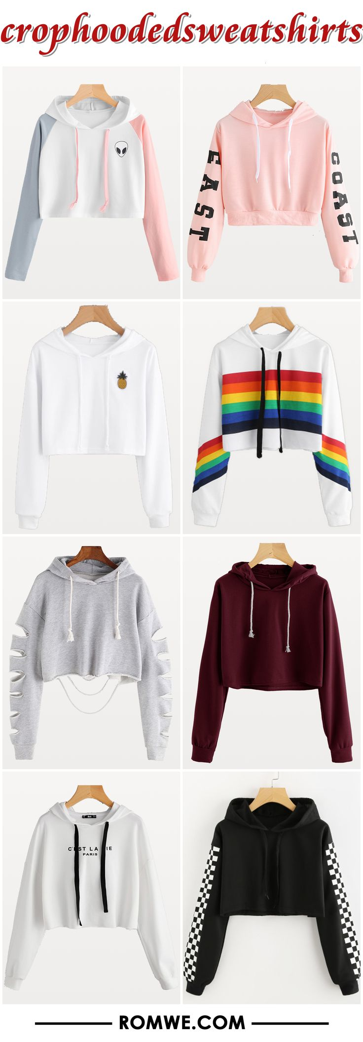 crop hooded sweatshirts from romwe.com
