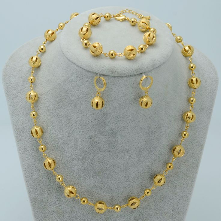 Beads Jewelry sets Ball Necklaces Earrings Bracelet - Gold Plated Beaded Necklace Women Arab Jewelry Africa Ethiopian #020606