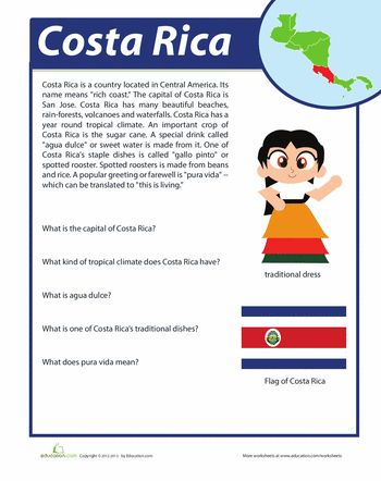 Worksheets: Costa Rica Facts