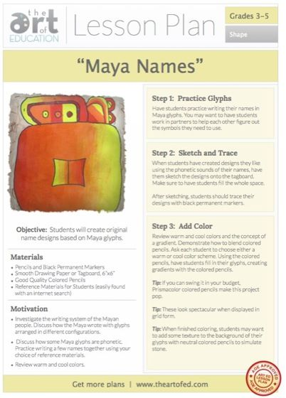 Maya NamesMaya Glyphs: Free Lesson Plan Download Level: 3-5 Art Education Lesson Plan Art Elements: Shape and Color Art Skills: Drawing, Colored Pencil Techniques, Craftsmanship Making Connections: Ancient Maya Writing