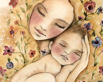 Madre y el niño día ventoso impresión de arte por claudiatremblay