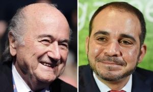 Fifa presidential candidates: incumbent Sepp Blatter, left, and Jordanian Prince Ali Bin Al Hussein.