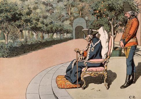 Friedrich der Große in seinen letzten Lebenstagen auf der Terrasse zu Sanssouci in der Sonne sitzend