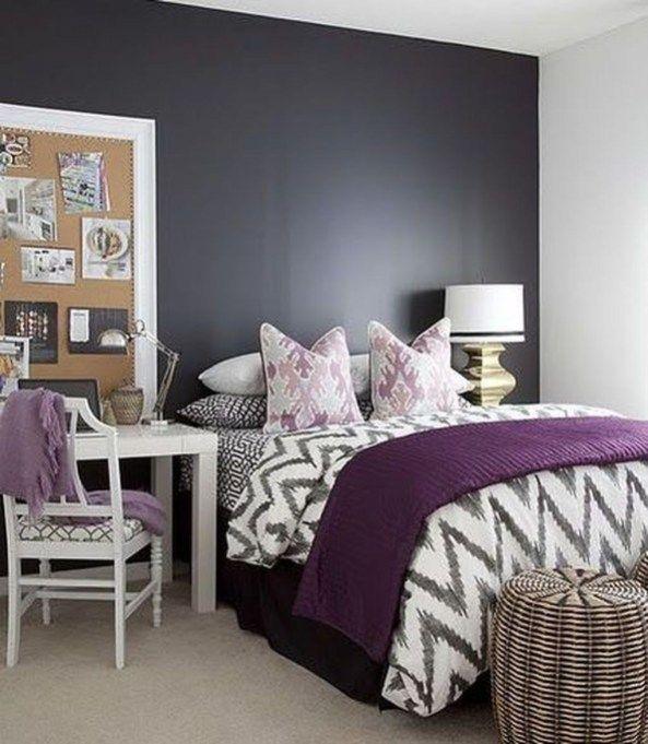 Lovely Black Accent Walls Bedrooms Ideas 26 Bedroom Color Schemes Home Decor Bedroom Purple Bedrooms