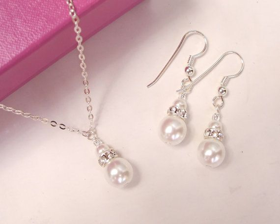 Classic designer Sterling Silver wedding jewellery set pearl and diamante pendant necklace and drop earrings bridal, bridesmaids gift on Etsy, $55.86 CAD