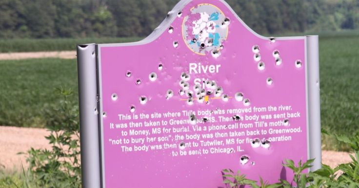 Emmett Till marker riddled with bullets