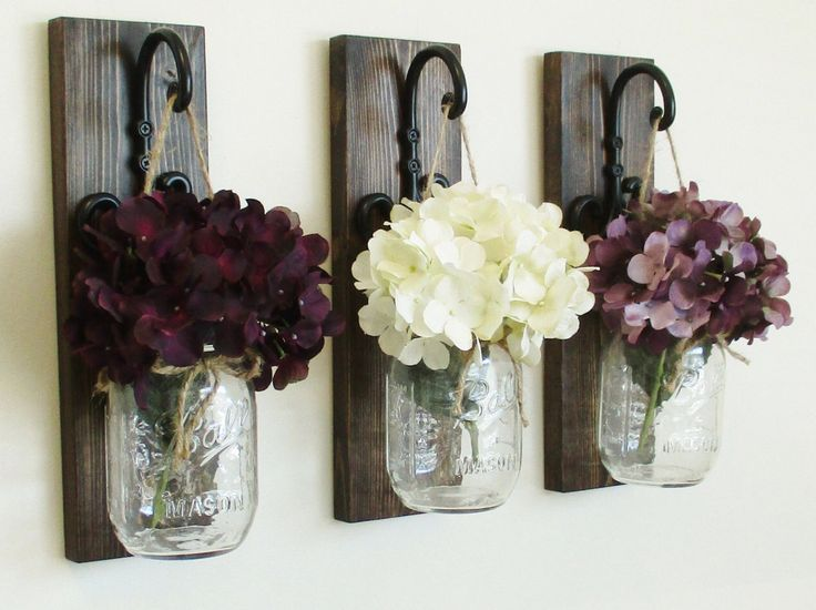 Rustic Farmhouse Knotty Pine Wood Wall Decor... 3 Individual Hanging Mason Jar Sconces on Stained Boards.Your choice of Colored Hydrangeas by cottagehomedecor on Etsy https://www.etsy.com/listing/250723521/rustic-farmhouse-knotty-pine-wood-wall