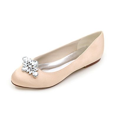 Women's+Spring+/+Summer+/+Fall+/+Winter+Round+Toe+Satin+Wedding+/+Party+&+Evening+Flat+Heel+RhinestoneBlack+/+Blue+/+Pink+/+Purple+/+–+USD+$+34.99