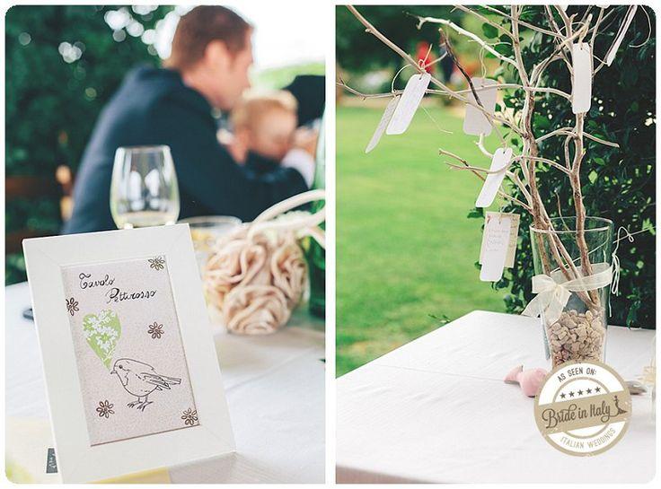 Diy seating chart + placeholder with cute illustrations, if you love birds <3 Ph. Studio A+Q http://www.brideinitaly.com/2012/12/real-wedding-matrimonio-naif-paliano-aq.html #italianstyle #wedding