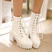 Wish | Tal n grueso botines de plataforma 2015 nuevas mujeres botines moda lace up riding botas de combate m s tama o