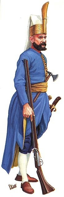 This is an ottoman janissary. He is the ottoman's elite. There are 30 000 of them in total and they can be of any religion or race when recruited, but then they have to turn muslim if they aren't. They are skilled in almost every war practice, they are the sultan's elite.
