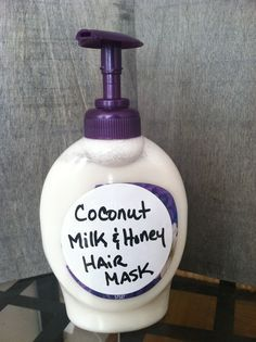 MONTHLY 1 can coconut milk & 2 TBS honey. Freeze dispenser & thaw before each use. Apply to hair & massage into scalp 2-3 min. Leave in 30 min to 1 hr.  Rinse with warm water then shampoo.