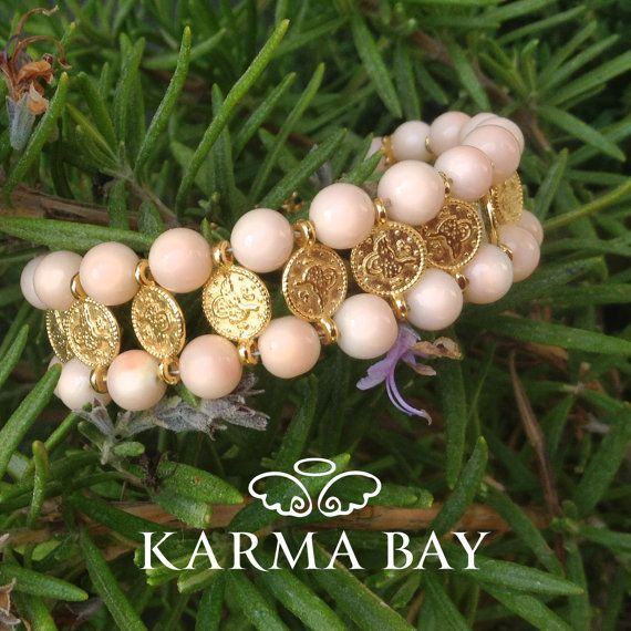 Ethnic Beaded Coin Gemstone #Bracelet by #KarmaBay #Pink