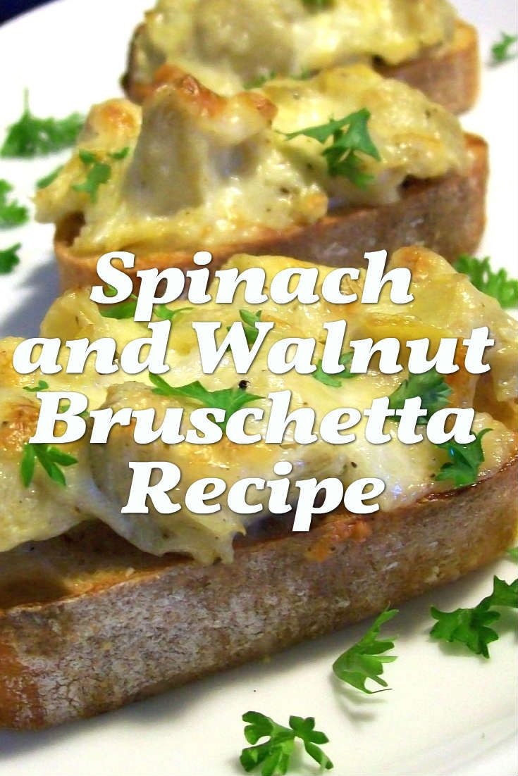Treat yourself to a light and healthy dinner of bruschetta with a twist. Substitute the tomatoes for fresh spinach and walnuts for a savoury dish suitable for lunch or even a snack.