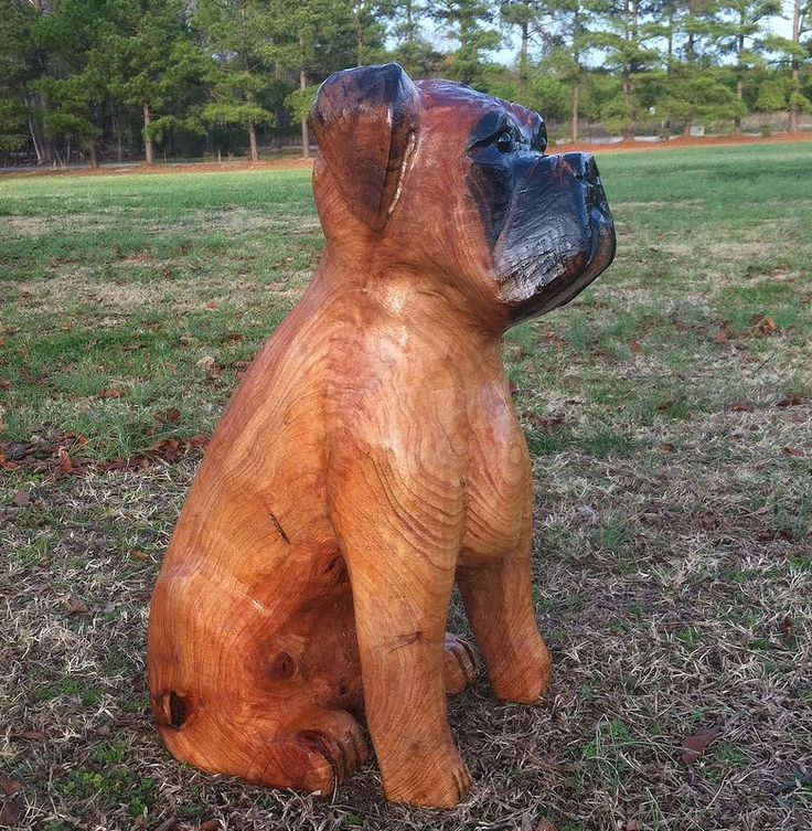 Boxer chainsaw carving jr carvings backyard