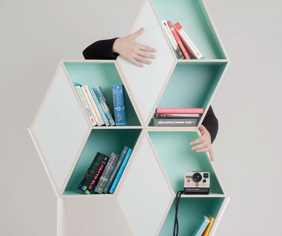 'Cubious', by Kristina Lindqvist, is a neo-classical bookshelf with a curious geometrical cube pattern that, aided by subtle shades of colour, creates an optical illusion.
