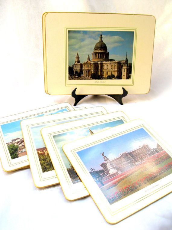 Vintage English Table Mats / Set of 8 / Scenes of by tessiemay, $37.00