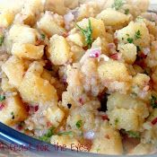 German Potato Salad - made 1/2 recipe without oil, used chicken broth, cooked onion in water