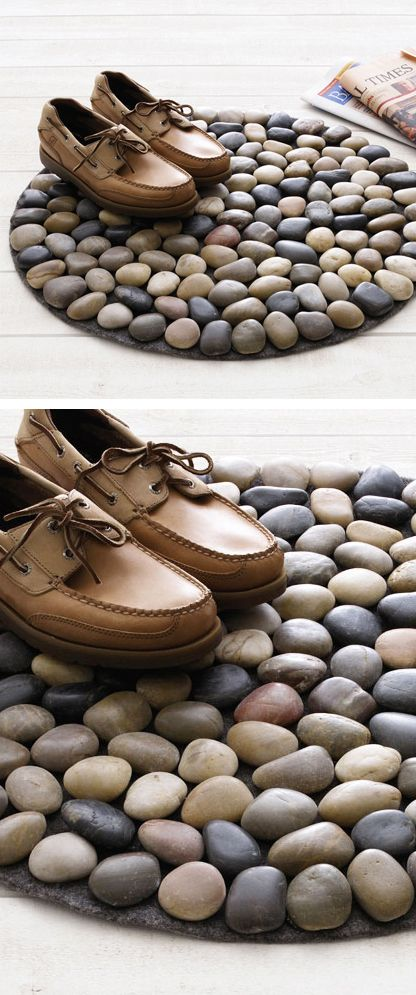 Beach pebbles doormat // DIY idea #product_design