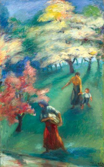 Kernstok Károly (1873-1940) Erdőben Olaj, vászon, 69x43 cm