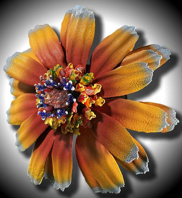 Blown Glass Flower Wall Art