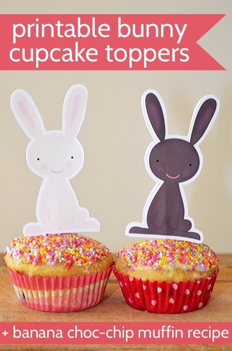 Free printable bunny toppers - to spruce up your Easter cupcakes!