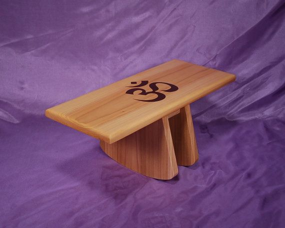 Adjustable tilt style meditation stool  (atms-yp-om)  Hand Crafted  Yoga meditation stool with OM symbol