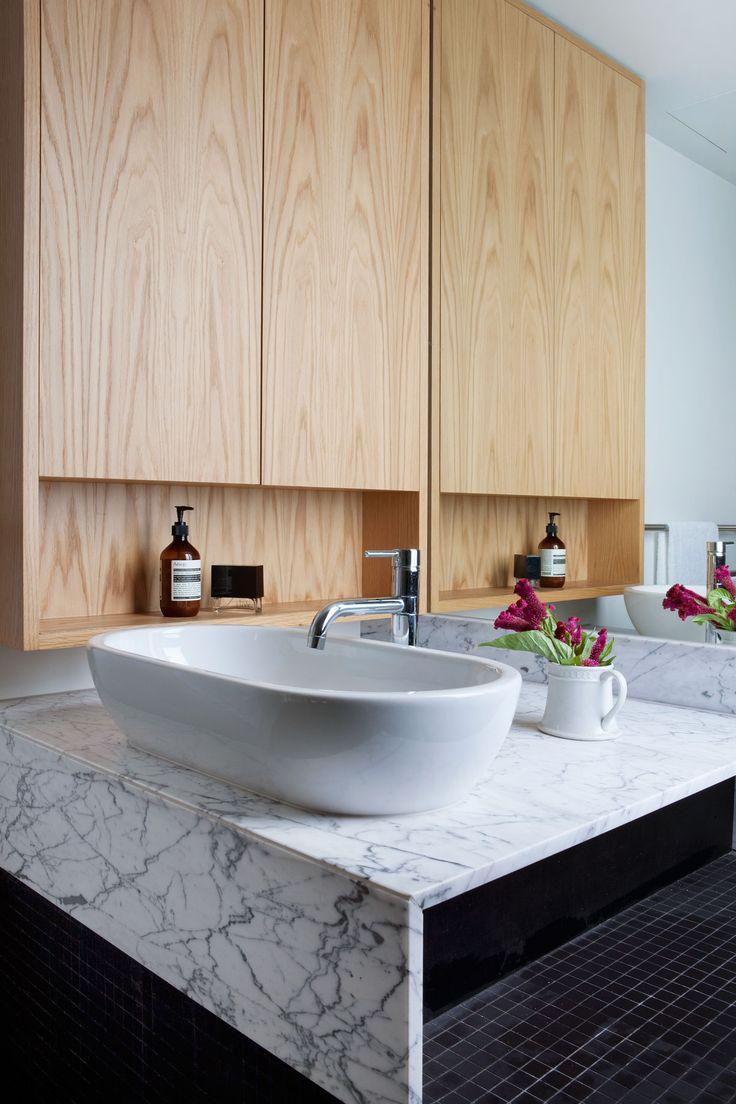 10 Darling St Bathroom vanity / marble / timber veneer Styling Nina Provan Photography Shannon Mcgrath Neometro