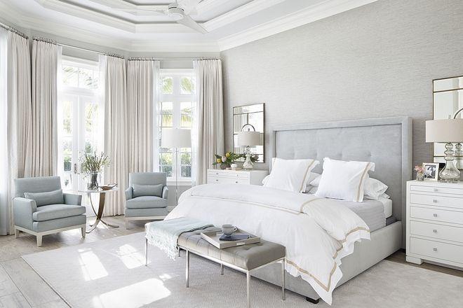 Master Bedroom Idea: Like Style Of Bed, Nightstand, Mirror Behind Nightstand, Floor Lamp, Sitting Area Setup | Serene Bedroom, Relaxing Bedroom, Bedroom Interior