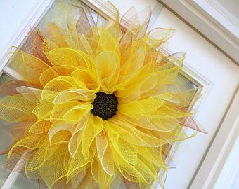 Corona de girasol, guirnaldas Deco malla flor, guirnalda de la flor de Dalia, decoración de la pared, puerta guirnalda, guirnalda de la flor, invierno, Halloween, otoño, decoración