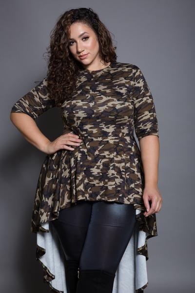 Plus Size 3 4 Sleeve Hi Lo Top Pant Suits In 2018 Pinterest