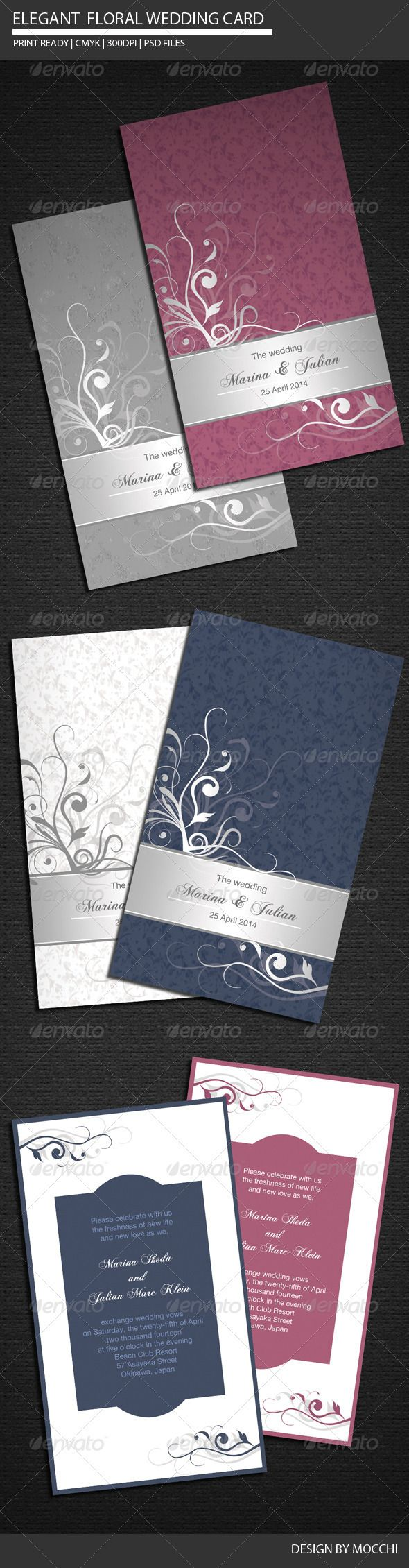 templates for wedding card design%0A Elegant Floral Wedding Card