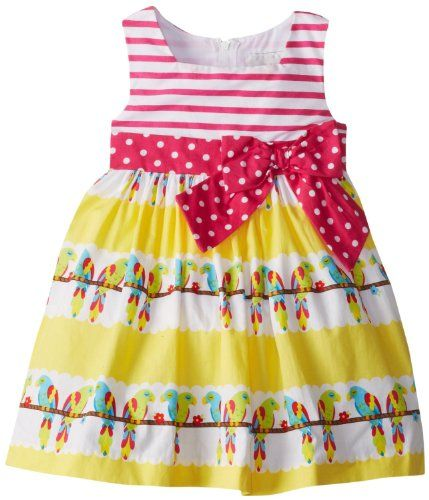 Stripe Bodice Parrot Print Woven Easter Dress 5 -- Read more reviews of the product by visiting the link on the image.