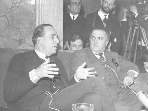 Federico Fellini during a press conference at Grand Hotel in Rome