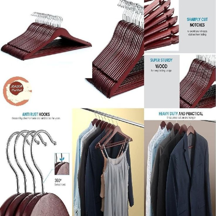 space saving Sturdy Wood Suit Hangers with Non Slip Bar Precisely strong natural #ZOBER