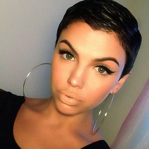 This girl is just rocking that short hair I love it!
