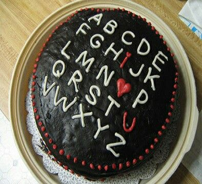 Alphabet cake  Yumminess inside,  tempting outside