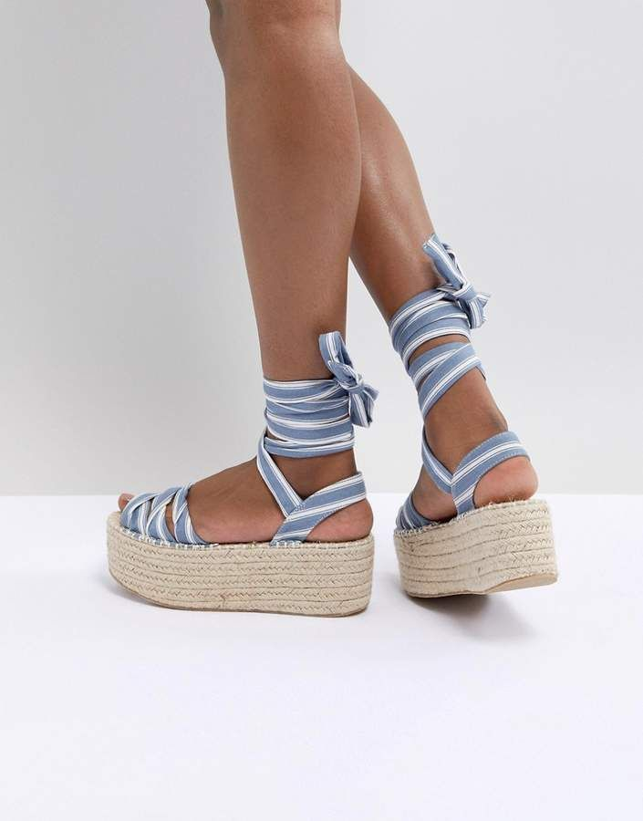 8d40e160a Boohoo Striped Flat form Espadrille Sandals. , Ankle-tie fastening, Striped  design, Woven flat form sole, Textured tread. Translating its international  ...
