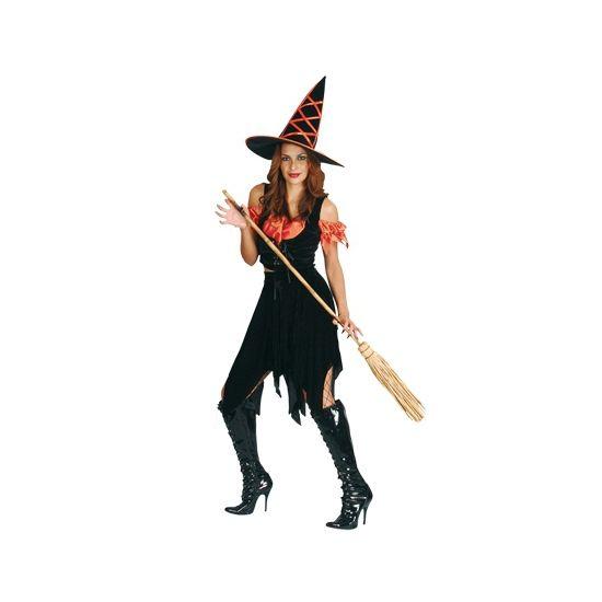 Halloween - Heksen kostuum zwart oranje  Heksenkostuum driedelig zwart oranje. Een driedelig heksen kostuum bestaande uit: top rok en hoed. Deze heksenjurk is one size ongeveer maat M/L.  EUR 27.95  Meer informatie